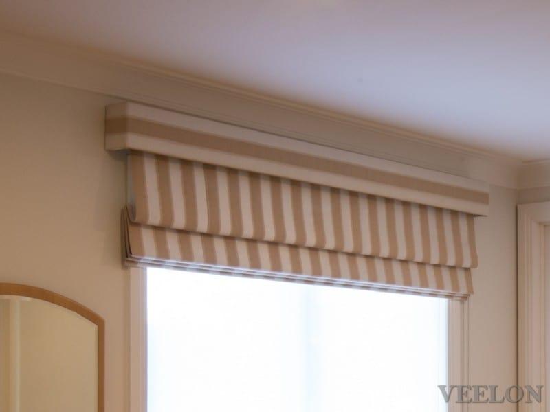 Veelon Melbourne Roman blind stripe beige fabric pelmet bedroom cushions
