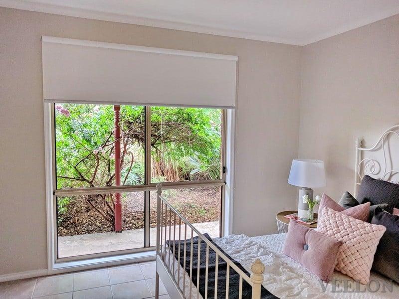 Veelon bedroom Melbourne Roller blinds blockout light grey
