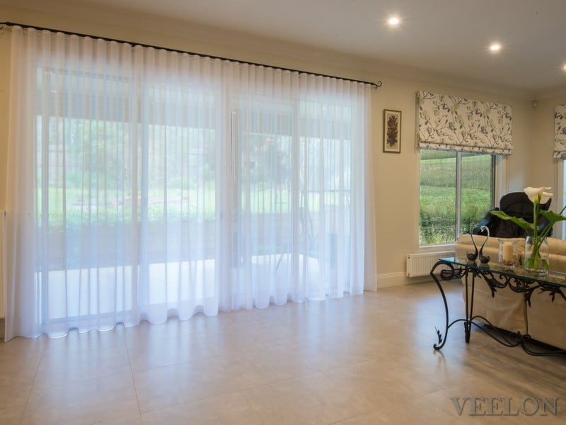 Veelon Melbourne dining living S-fold wave-fold curtains sheer white ivory