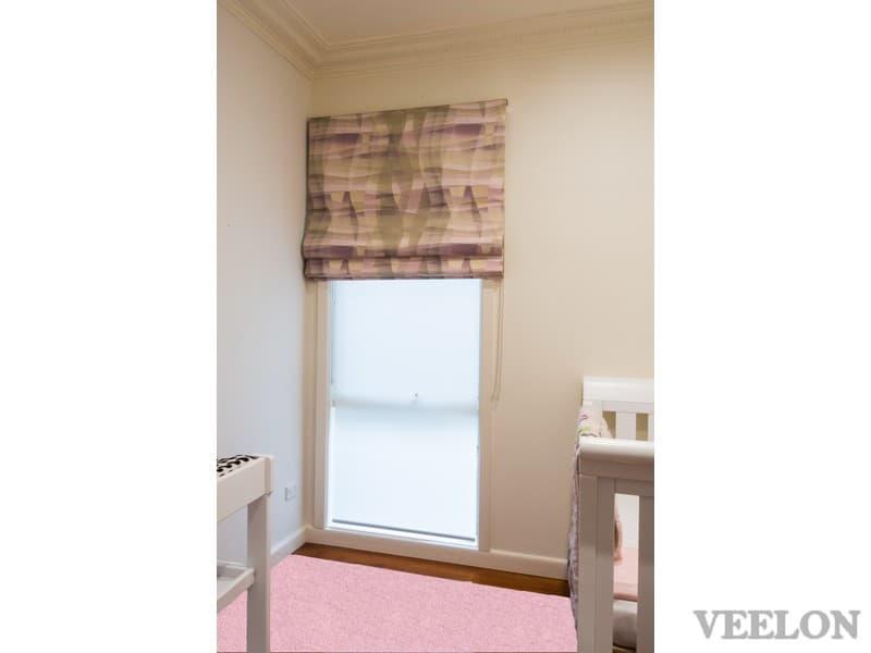 Veelon Melbourne Roman blind fabric kid's bedroom narrow window