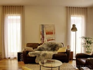 Veelon Sheer curtains s-fold wave fold grey natural look linen look living dining