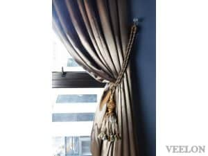 Veelon Sheer motorized curtains brown gold bronze silk look living dining antique style
