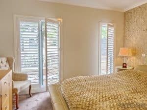 Veelon Melbourne Plantation Shutters Timber PVC White Ivory Bedroom