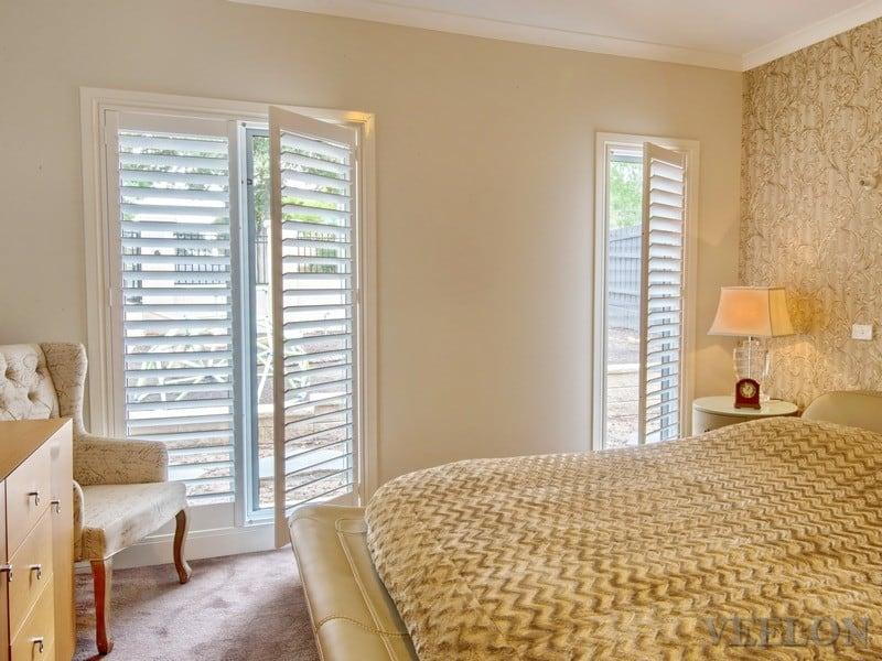 Veelon Melbourne Plantation Shutters Timber PVC White Ivory Bedroom