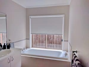 Veelon Bathroom Melbourne Roller blinds Blockout light grey white
