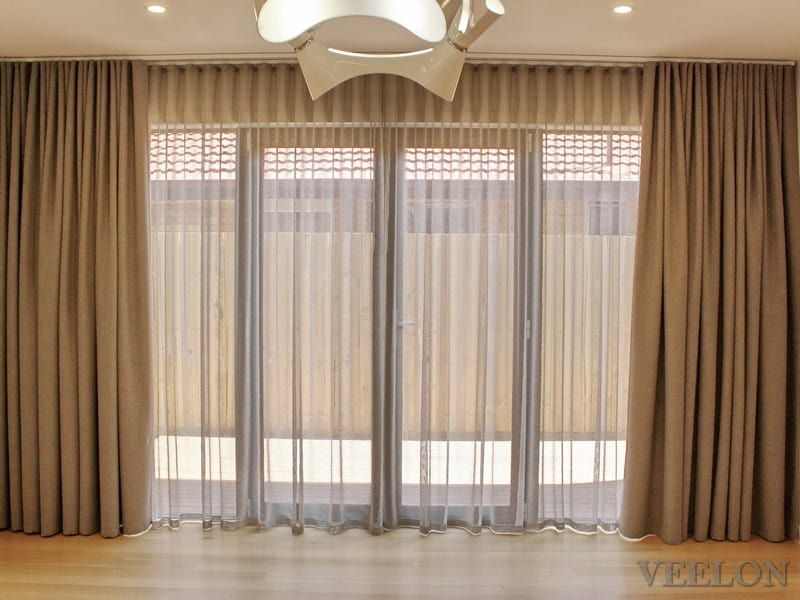 Veelon Melbourne Bedroom Living Triple weave s-fold curtains sheer block out dim out wave fold grey ceiling fix