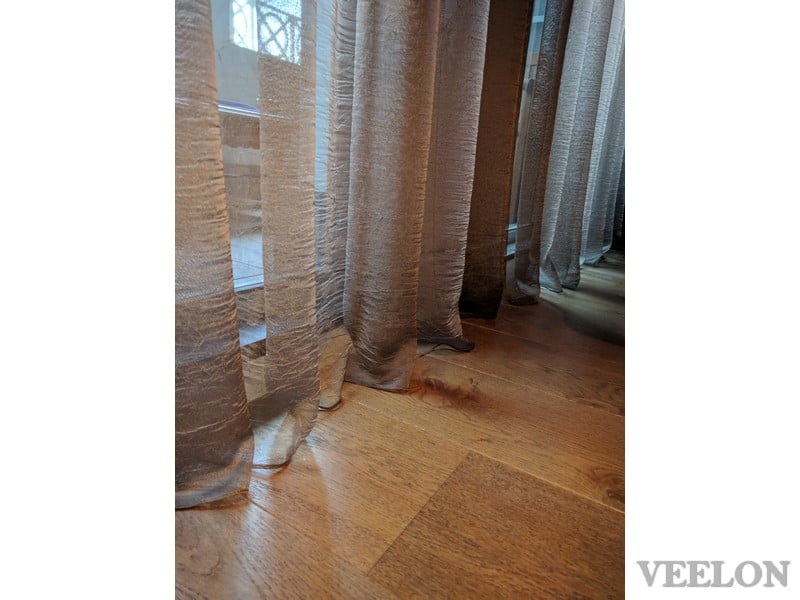 Veelon Sheer curtains pencil pleat brown gold bronze silk look living dining antique style