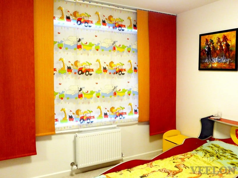 Veelon Melbourne Panel curtains Japanese style Kids boy red yellow zoo