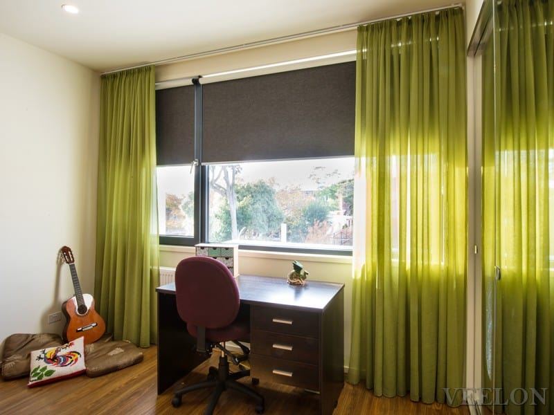Veelon Sheer curtains pencil pleat green brown bedroom kids roller