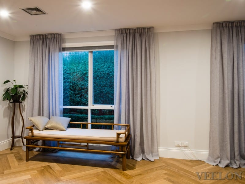 Veelon Melbourne Bedroom Living pencil pleat curtains sheer grey ceiling fix linen look roller