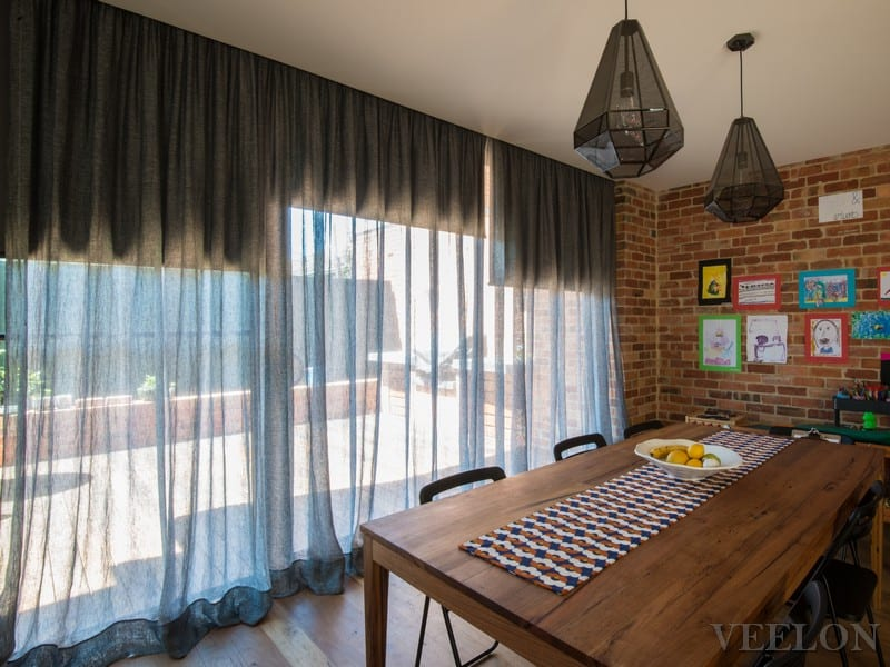 Veelon Melbourne Dining Living sheer curtains grey ceiling fix linen roller