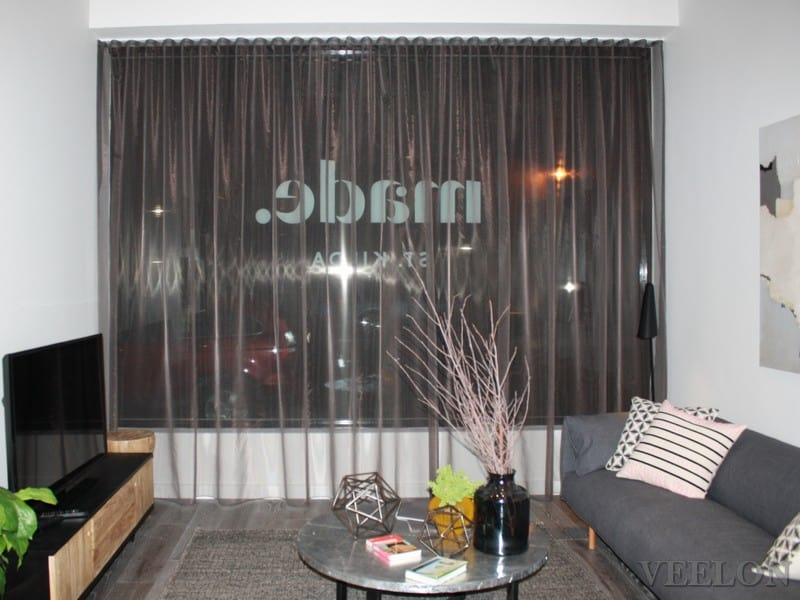 Veelon Sheer curtains s-fold wave fold brown living dining