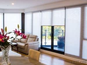 Veelon Melbourne roller blinds grey light filtering translucent living dining