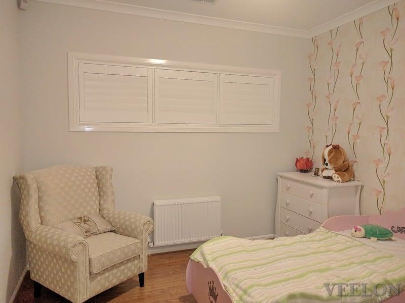 Veelon Melbourne Plantation Shutters Timber PVC White Ivory Girl's Bedroom