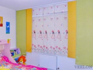 Veelon Melbourne Panel curtains Japanese style Kids girl green yellow flowers