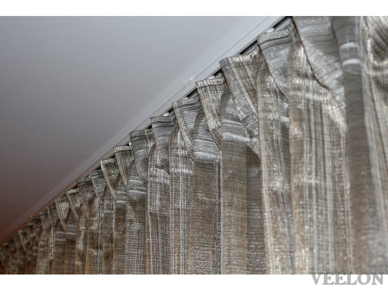 Veelon Sheer curtains white brown gold bronze silk look living dining