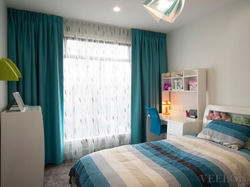 Veelon Melbourne Sheer Blockout dimount Triple weave curtains inverted pleat s-fold Kids girl blue Bedroom wave fold ceiling fix