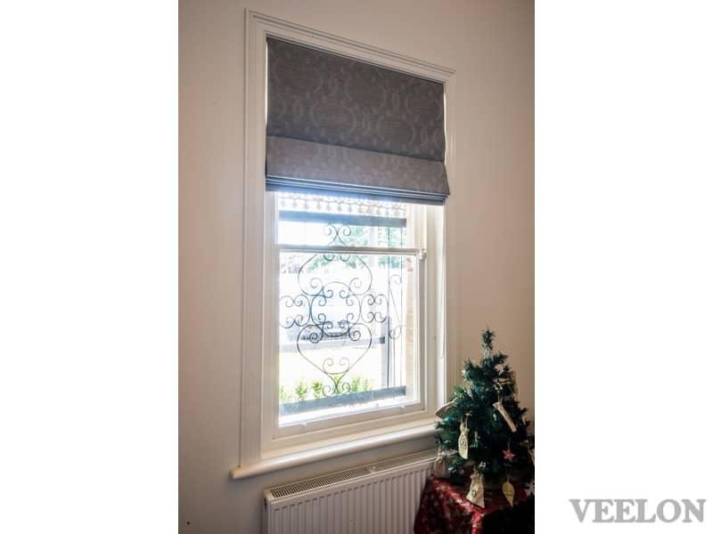Veelon Melbourne Roman blind fabric bedroom narrow window Victorian style grey