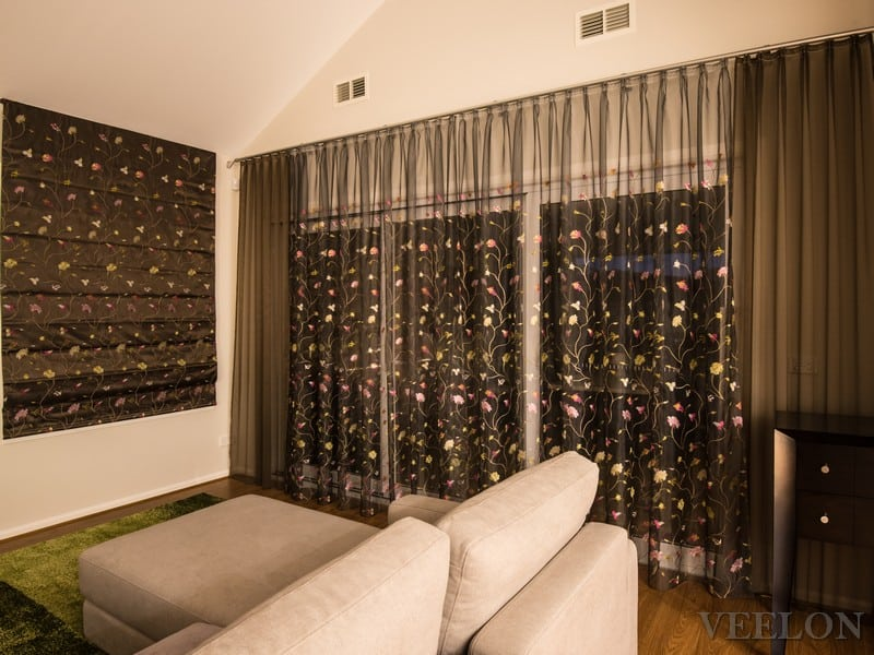 Veelon Sheer embroidery curtains flowers brown gold silk look living dining roman blind