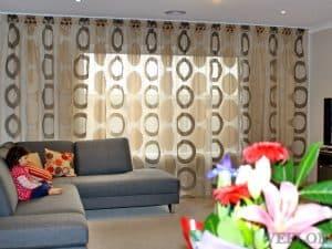 Veelon Sheer curtains white brown gold bronze silk look living dining pattern polka dot
