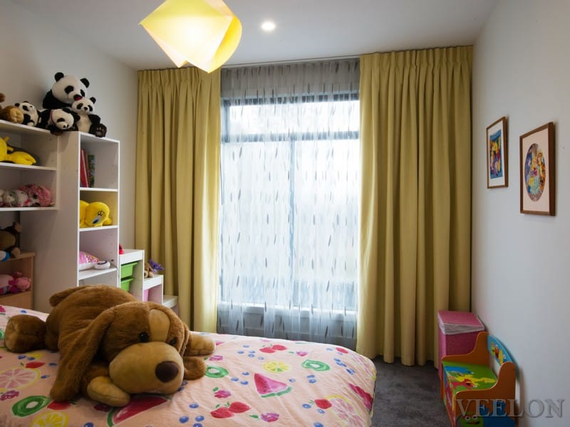 Veelon Melbourne Sheer Blockout dimount Triple weave curtains inverted pleat s-fold Kids girl yellow Bedroom wave fold ceiling fix