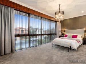 Veelon Melbourne Bedroom Triple weave pinch pleat curtains block out dim out grey ceiling fix