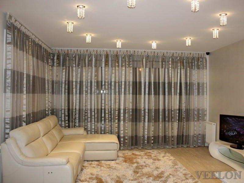 Veelon Sheer curtains white brown gold bronze silk look living dining pattern stripe