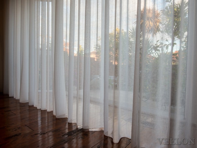 Veelon Sheer curtains motorized motorised s-fold wave fold cream white ivory natural look living dining