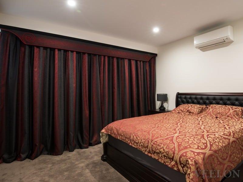 Veelon Melbourne Bedroom curtains sheer blockout black red pelmet