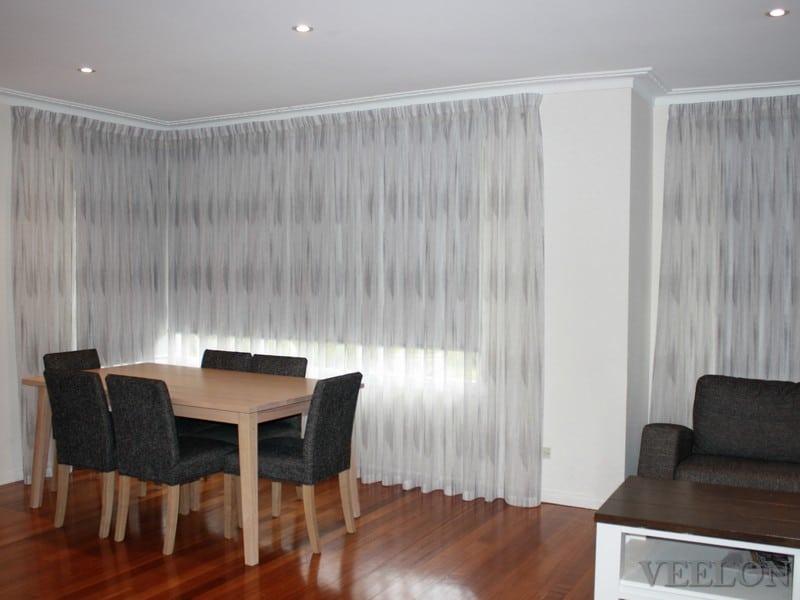 Veelon Melbourne Bedroom Living pencil pleat curtains sheer grey wall fix linen look roller