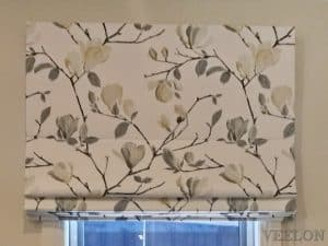 Veelon Melbourne Roman blind fabric kitchen living dining flowers white grey