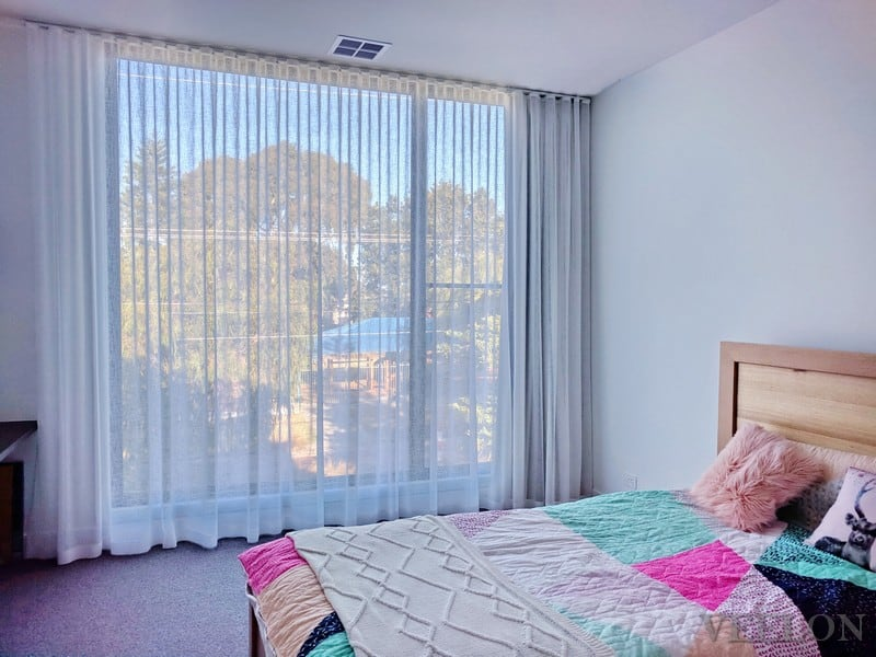 Veelon bedroom Melbourne curtains s-fold natural look white ceiling fix