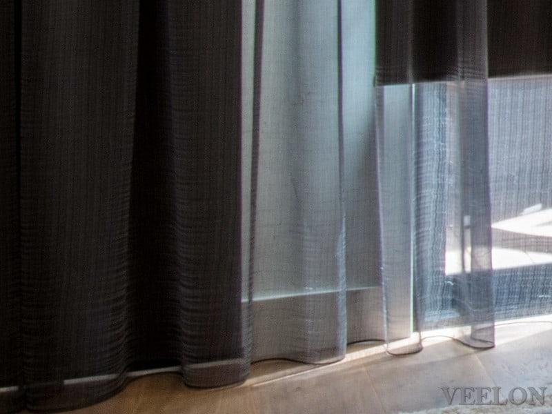 Veelon sheer curtains grey black roller blinds living dining under pelmet