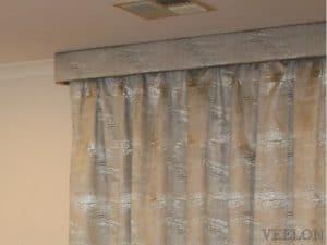 Veelon Melbourne Curtains blockout grey silver living under pelmet