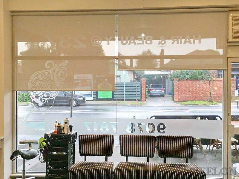 Veelon Melbourne roller blinds grey screen hairdressing salon
