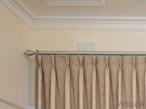 Veelon Melbourne Bedroom curtains sheer blockout beige pinch pleat stripe natural look