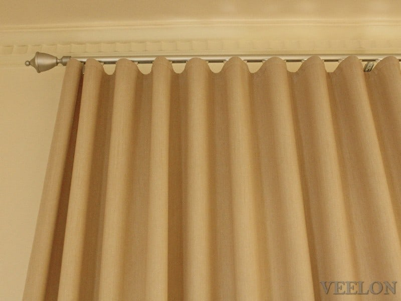 Veelon Melbourne bedroom Triple weave s-fold curtains block out dim out wave fold beige wall fix