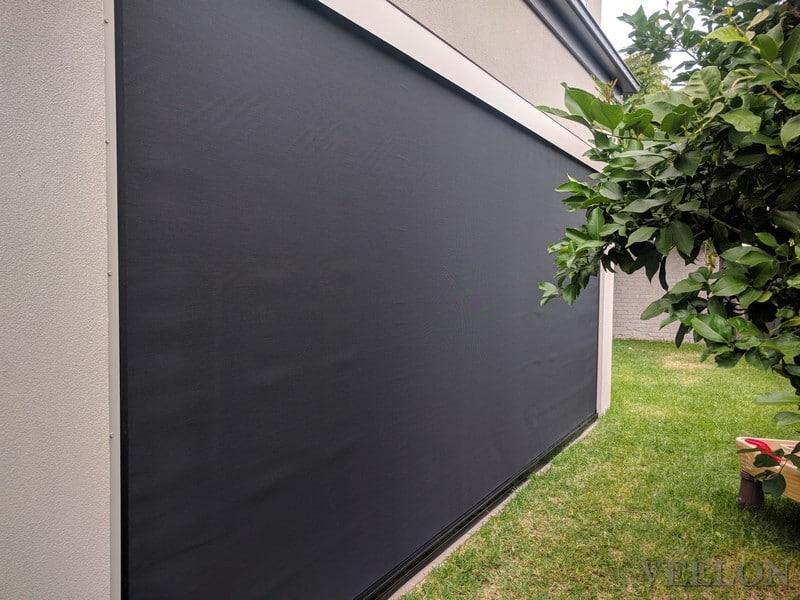 Outdoor blinds screen Ziptrack grey black