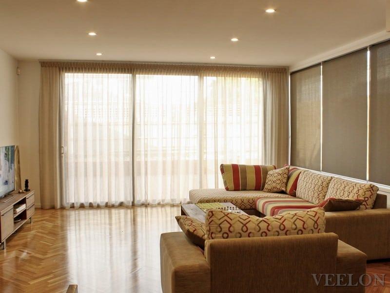 Veelon Sheer curtains beige gold bronze natural look living dining roller blinds