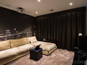 Veelon Melbourne Cinema Triple weave inverted pleat curtains block out dim out charcoal ceiling fix