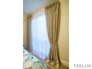 Veelon Melbourne Bedroom curtains sheer beige inverted pleat stripe natural look