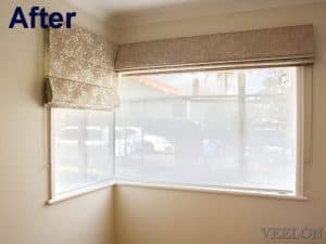 Veelon Melbourne Roman blind bedroom corner window flowers beige