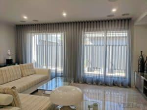 Veelon Sheer curtains s-fold grey silk look living dining modern style